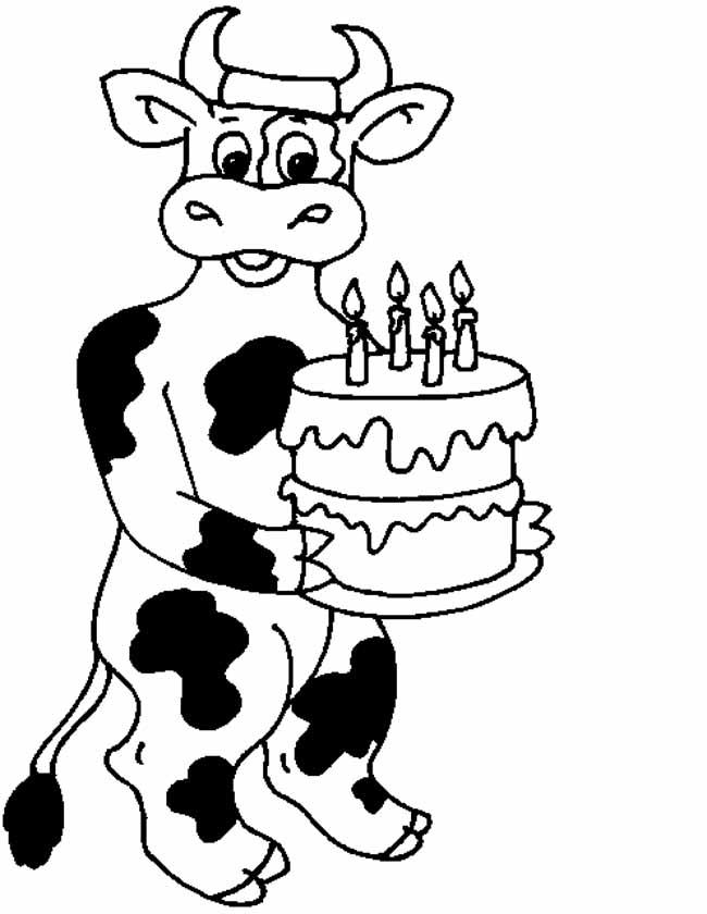 kleuren nu koe met taart kleurplaten