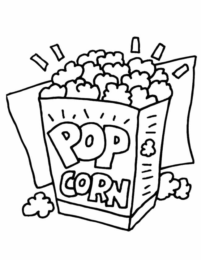 Gratis kleurplaat popcorn bakje voor verjaardag of de bioscoop