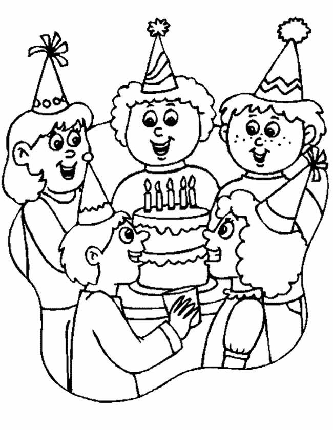 Gratis kleurplaat verjaardagsfeestje met taart