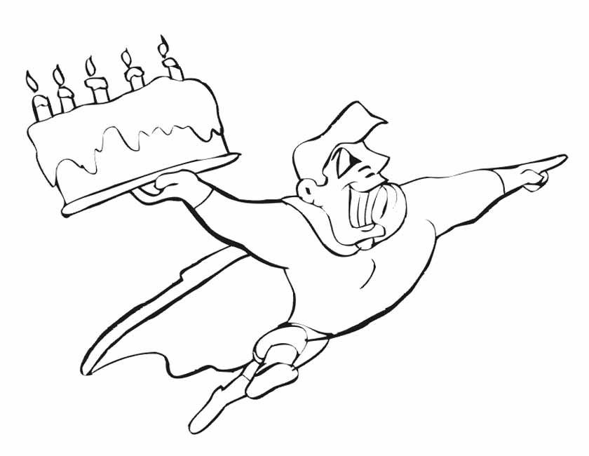 Gratis kleurplaat superman met taart