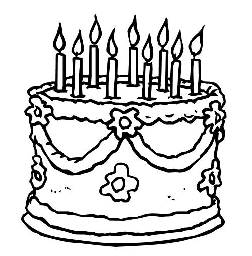 Gratis kleurplaat taart met kaarsen