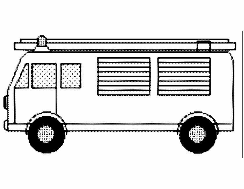 Gratis kleurplaat Brandweerauto zijkant