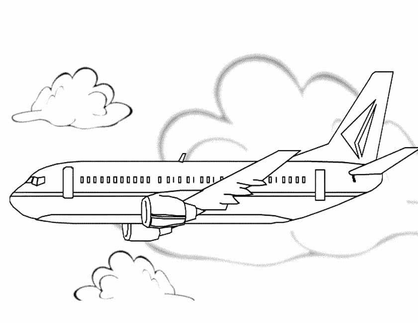Gratis kleurplaat Boeingvliegtuig zijkant