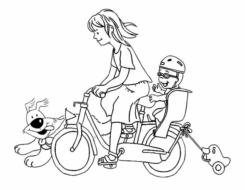 Gratis kleurplaat Gezellig op de fiets met kind en hond