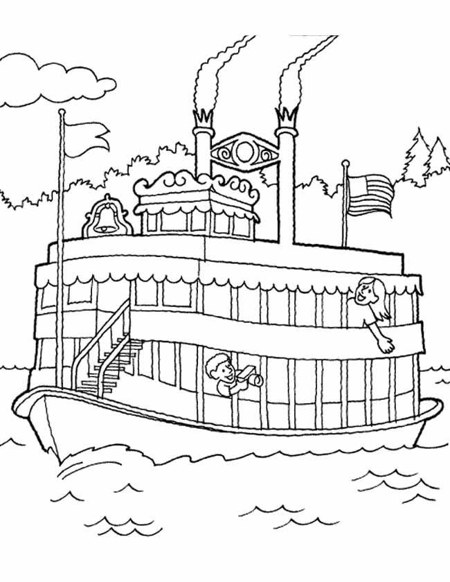 Gratis kleurplaat boot op een rivier