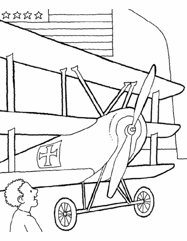 Gratis kleurplaat dubbeldekker vliegtuig