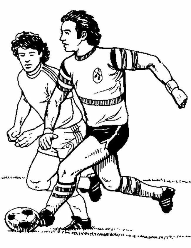 Gratis kleurplaat Twee voetballers