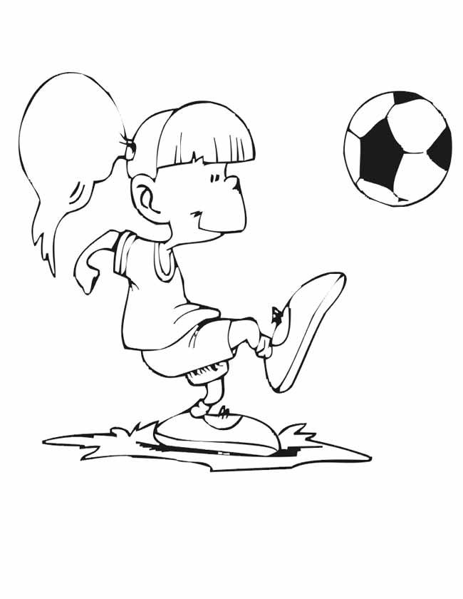 Gratis kleurplaat Meisje schopt de bal