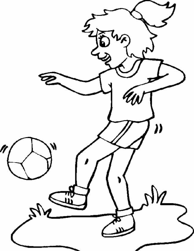 Gratis kleurplaat Meisje houd de bal hoog