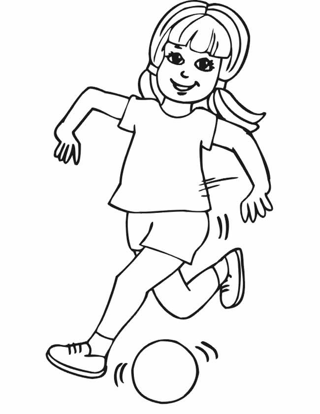 Gratis kleurplaat Meisje rent met de bal