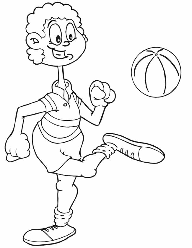 Gratis kleurplaat bal hooghouden vrouw