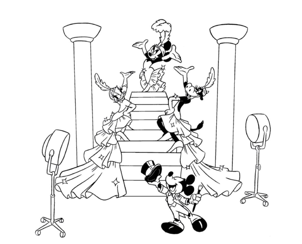 Gratis kleurplaat Mickey Mouse als showmaster