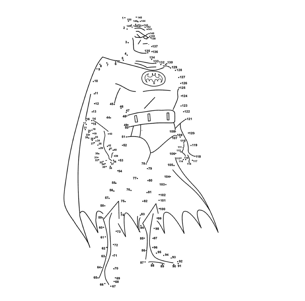 Gratis kleurplaat Puntjes verbinden Batman