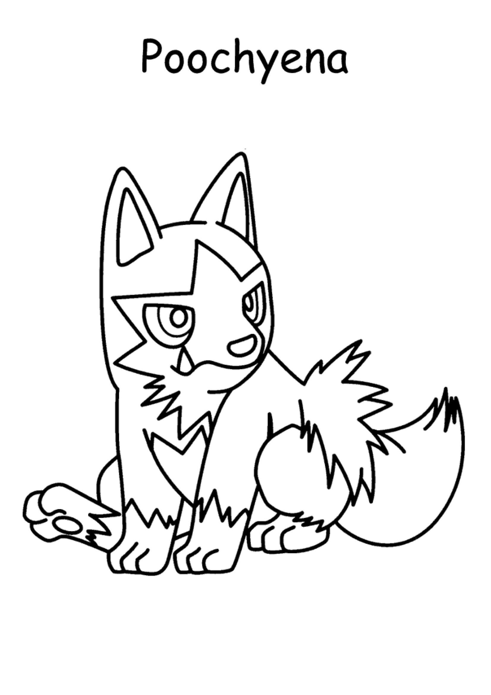 Gratis kleurplaat Pokemon Poochyena
