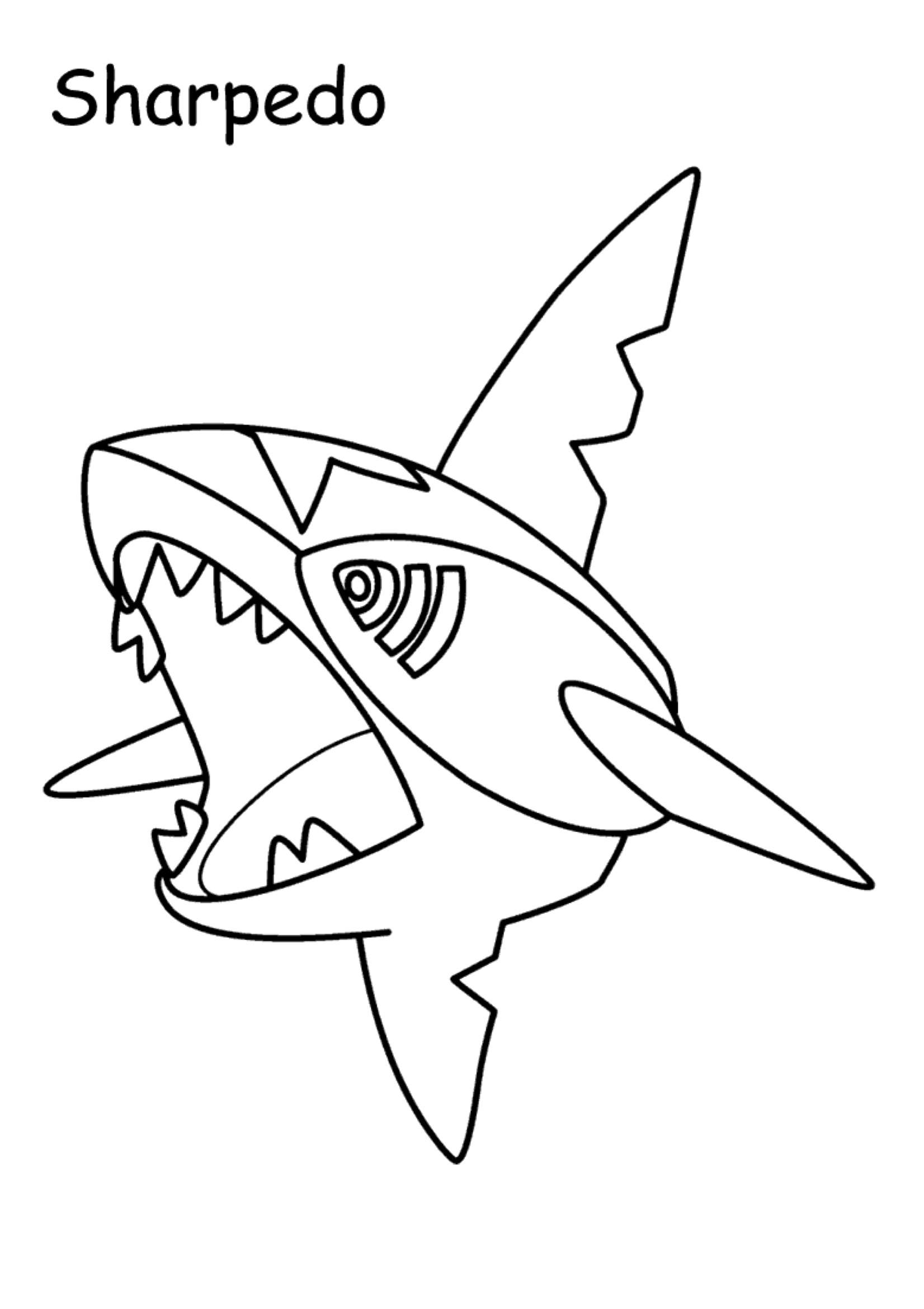 Gratis kleurplaat Pokemon Sharpedo