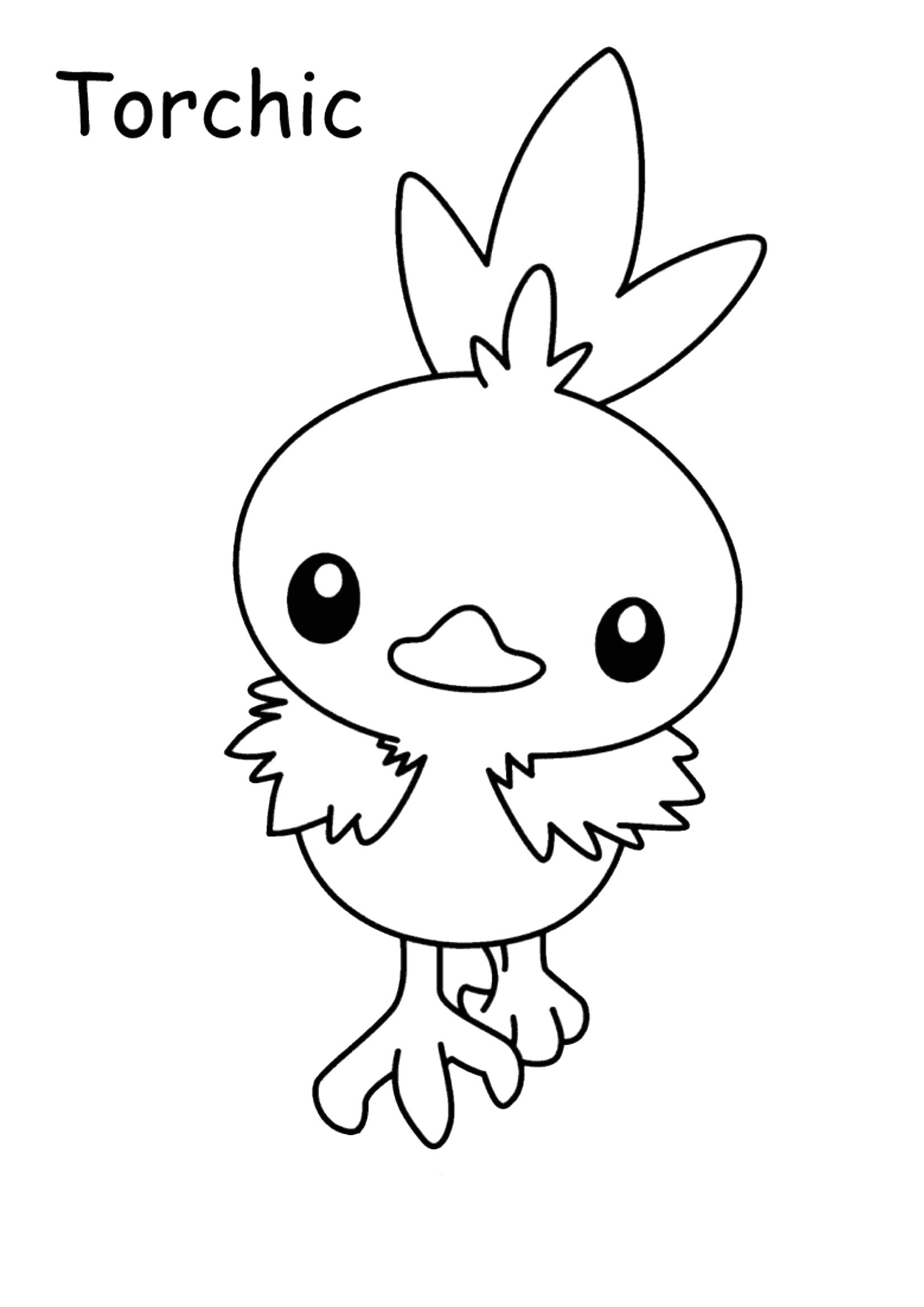 Gratis kleurplaat Pokemon Torchic