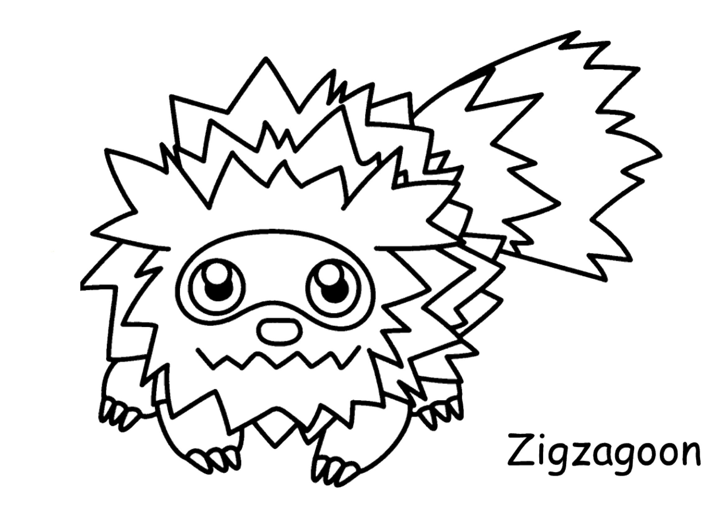Gratis kleurplaat Pokemon Zigzagoon