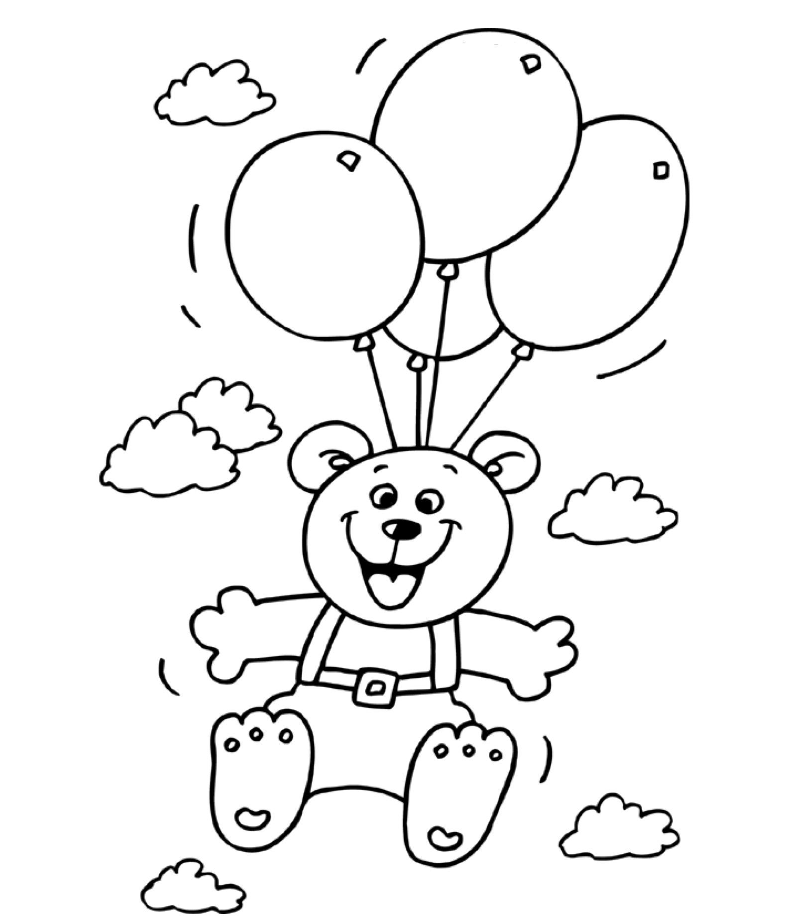 kleuren nu verjaardag met ballonnen kleurplaten