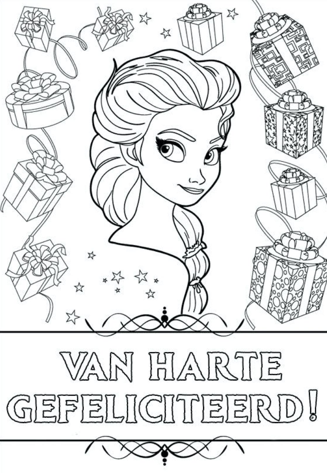 Gratis kleurplaat van harte gefeliciteerd Elsa!