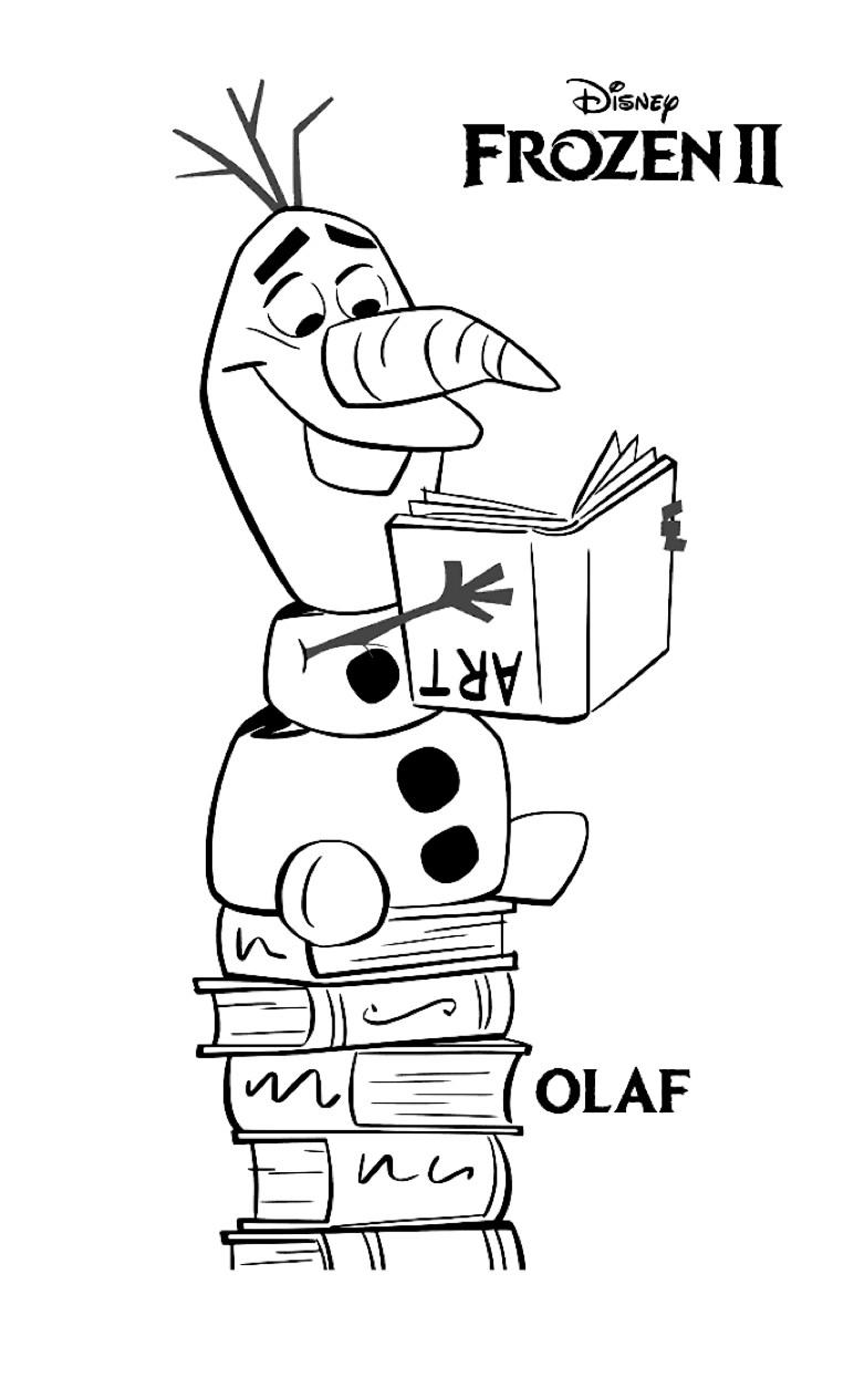Gratis kleurplaat Olaf leest een boek