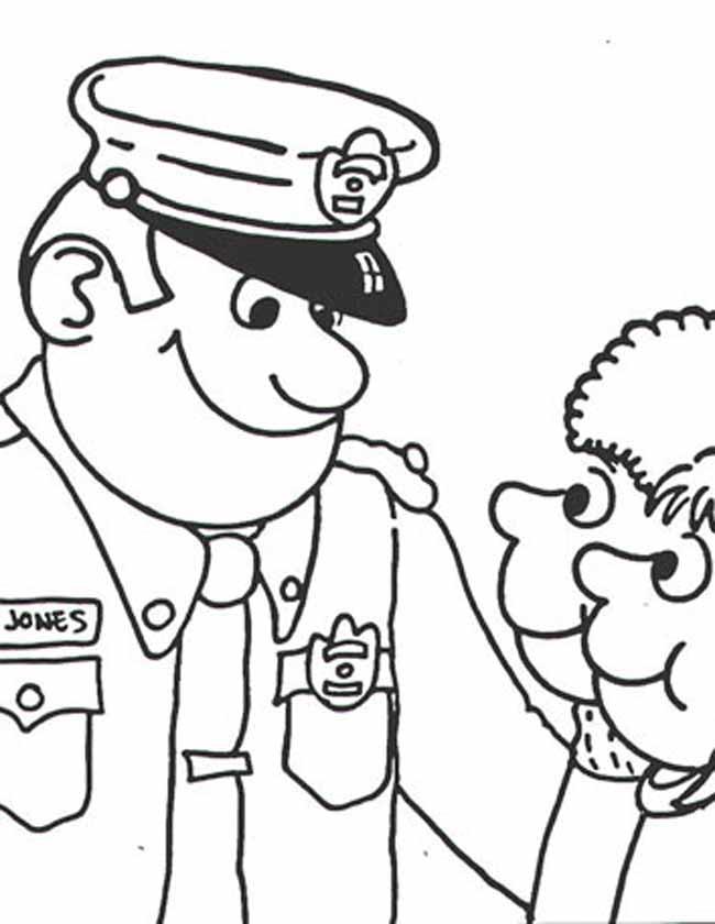 Gratis kleurplaat Politieagent spreekt kinderen aan