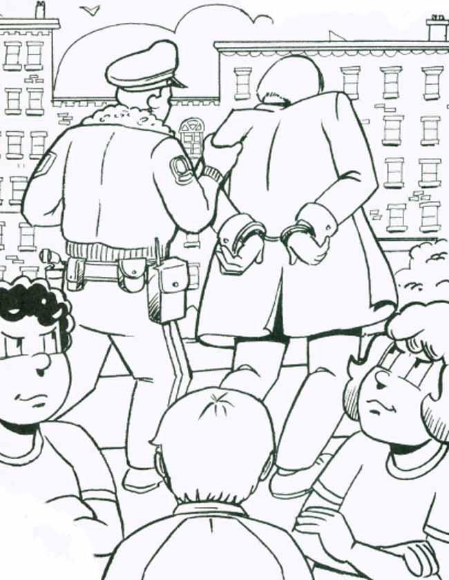 Gratis kleurplaat Crimineel in de kraag gevat