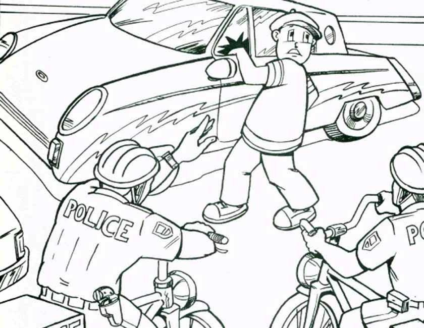 Gratis kleurplaat Politie pakt autokraker