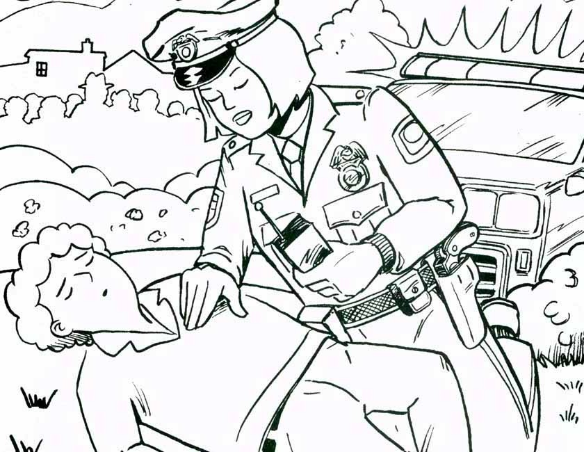 Gratis kleurplaat Agente verleent eerste hulp