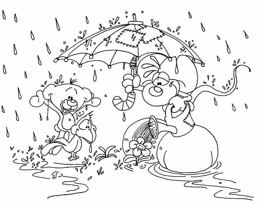 Gratis kleurplaat In de regen