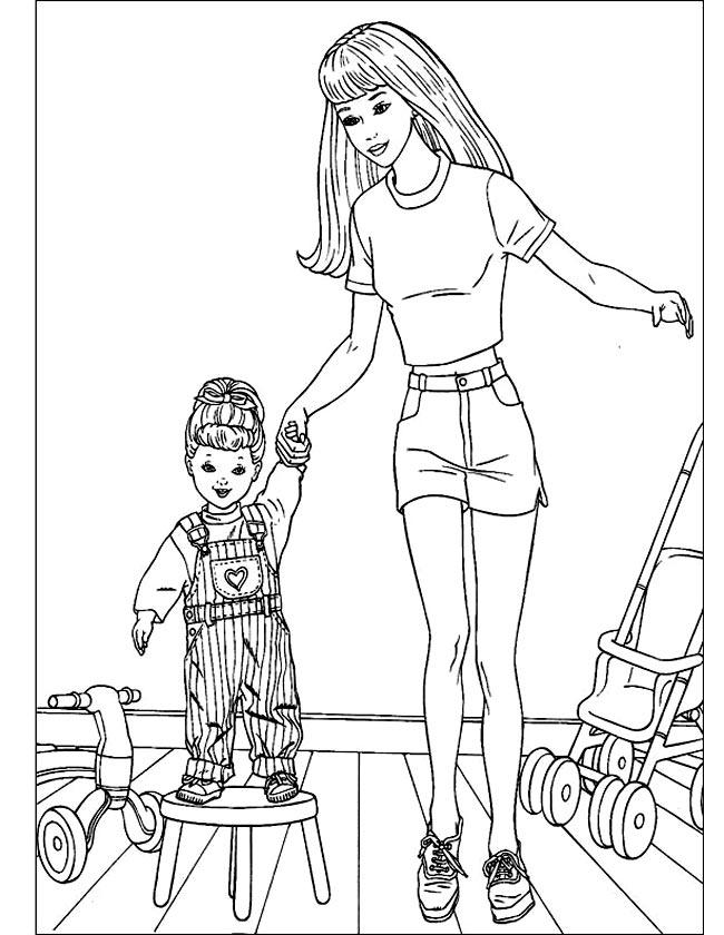 Gratis kleurplaat Barbie speelt met kindje