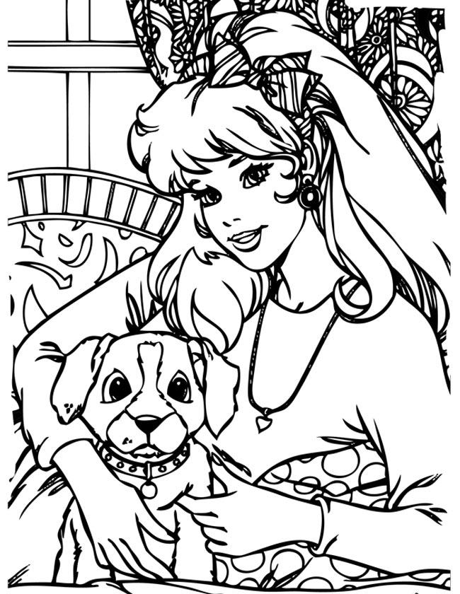Gratis kleurplaat Barbie met lieve hond