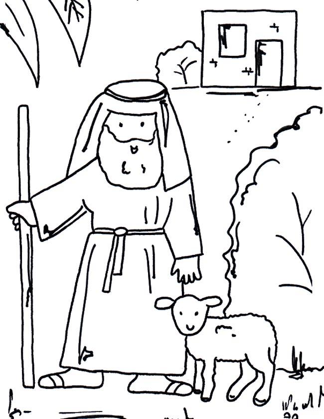 Gratis kleurplaat Een herder met een schaapje