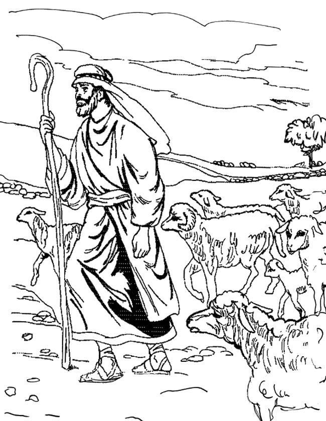 Gratis kleurplaat Een herder met zijn kudde schapen