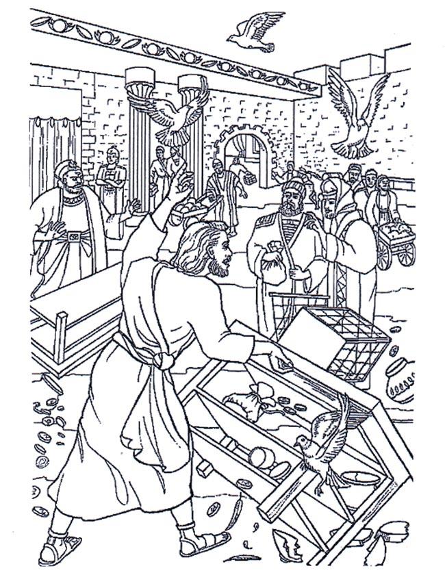 Gratis kleurplaat Jezus in de tempel