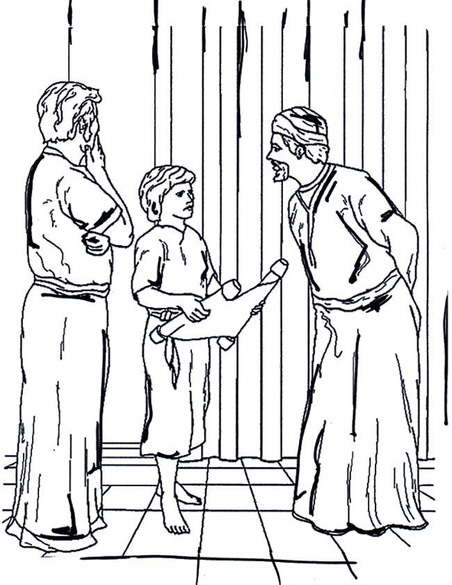 Gratis kleurplaat Jezus als kind in de tempel