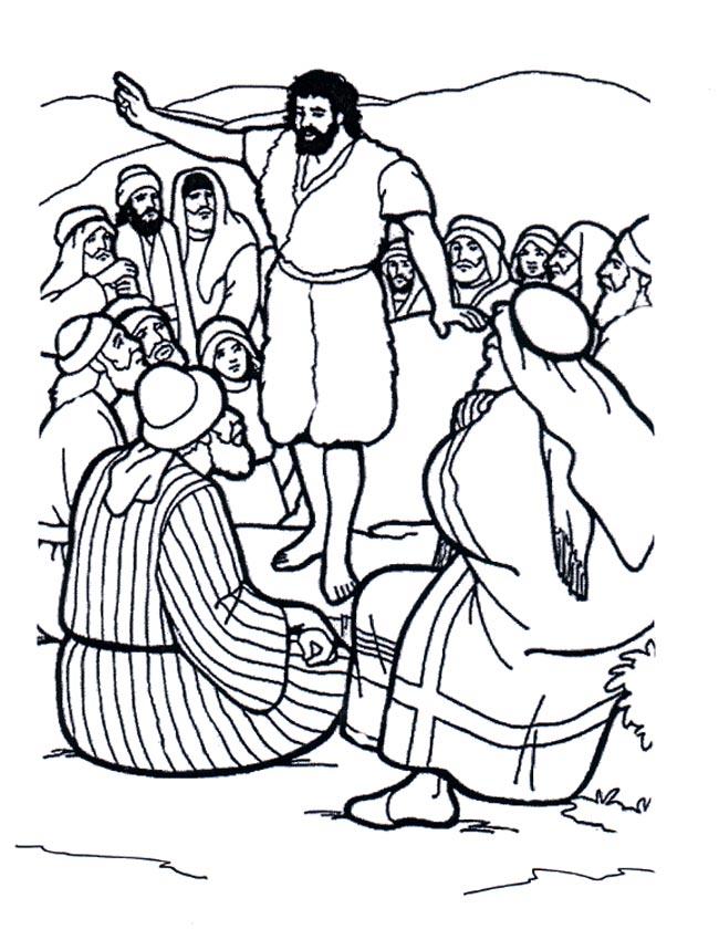 Gratis kleurplaat Johannes de doper spreekt alle mensen toe