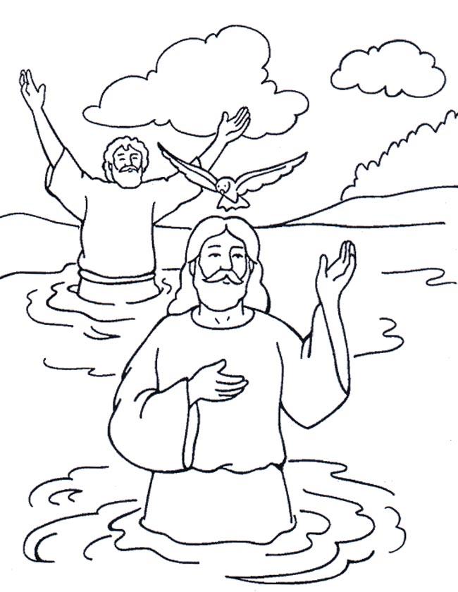 Gratis kleurplaat Jezus wordt gedoopt