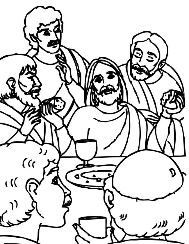 Gratis kleurplaat Jezus en het laatste avondmaal