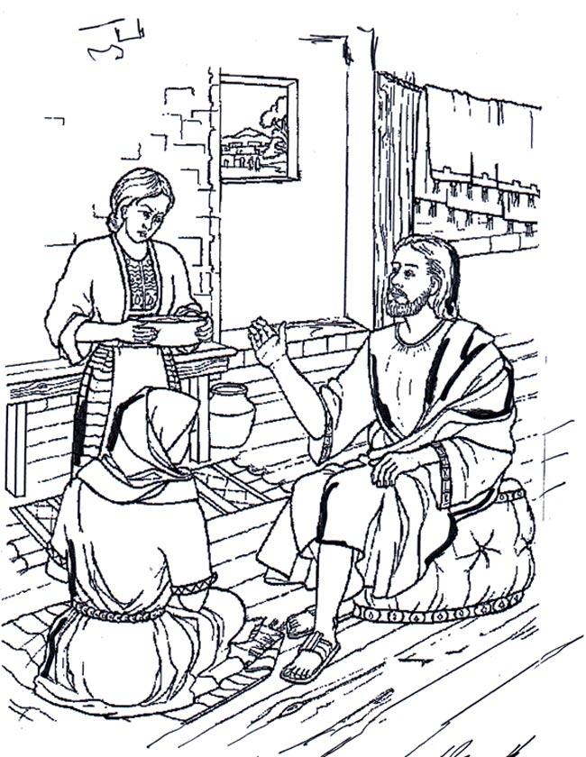 Gratis kleurplaat Maria Martha en Jezus