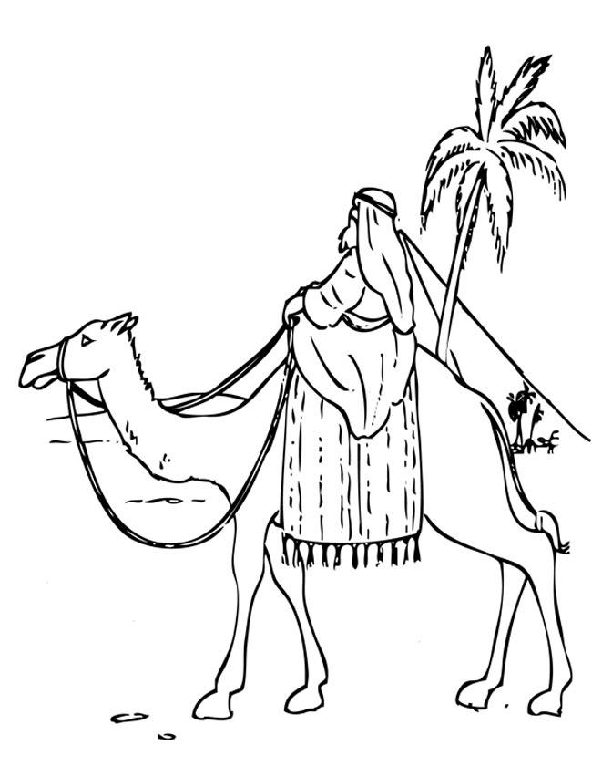kleuren nu in egypte op een kameel kleurplaten