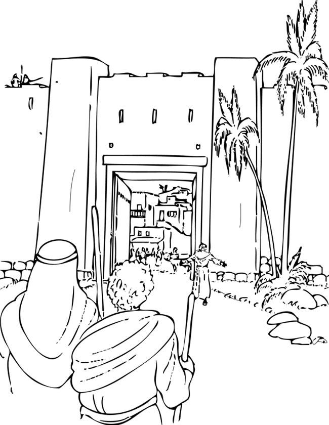 Gratis kleurplaat De poort van Jeruzalem