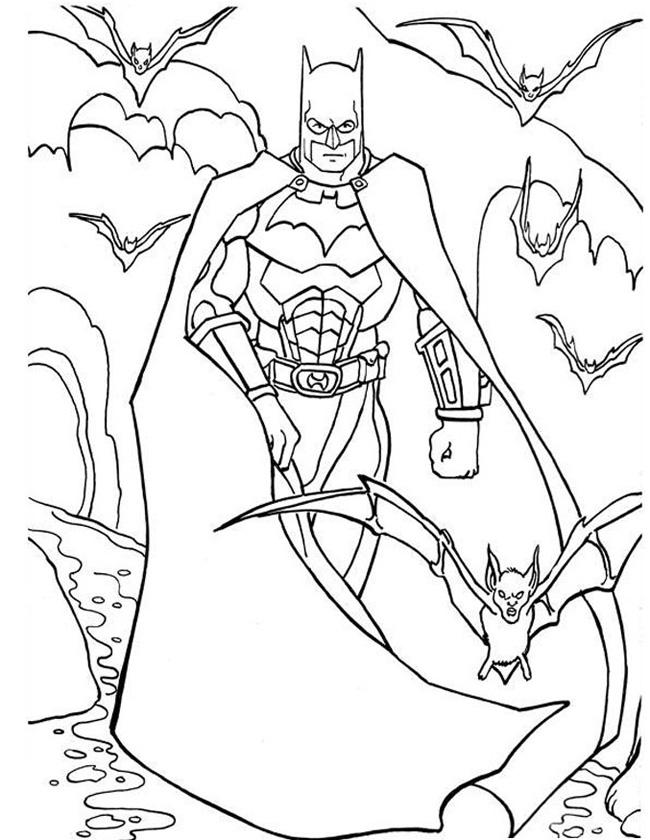 Gratis kleurplaat Batman met vleermuizen