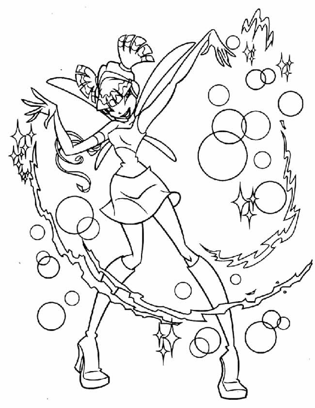 Gratis kleurplaat Winx met bubbels