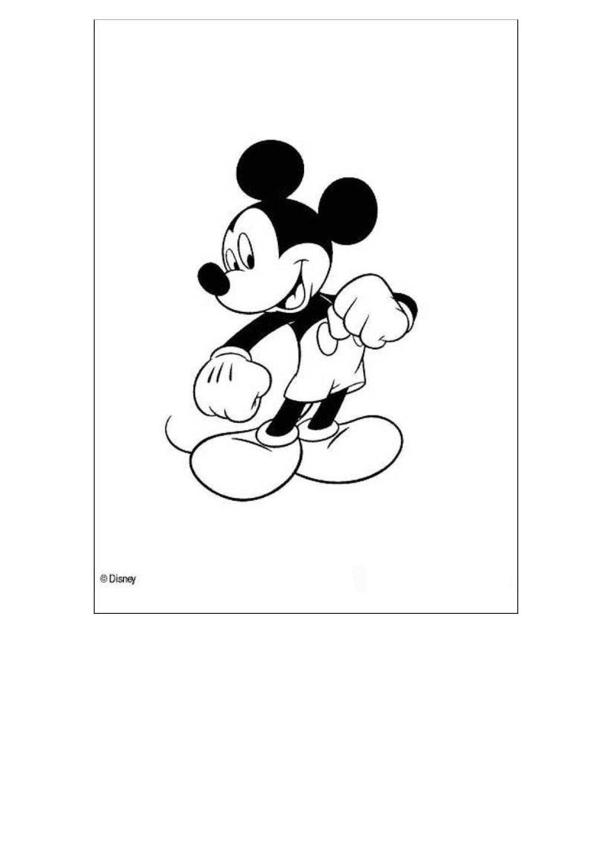 Gratis kleurplaat Mickey Mouse
