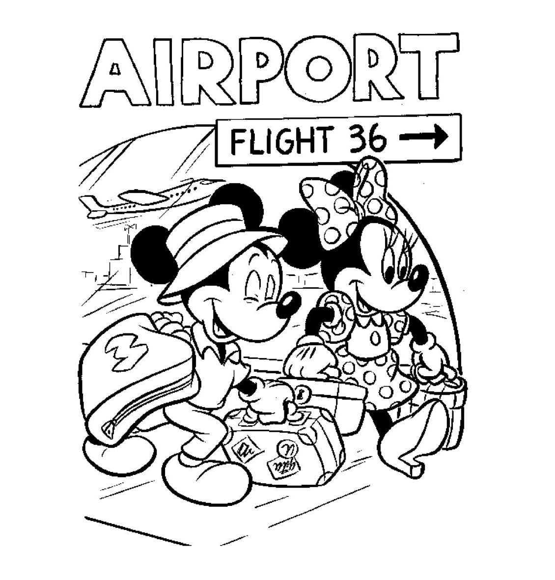 Gratis kleurplaat Mickey en Mini gaan op vakantie