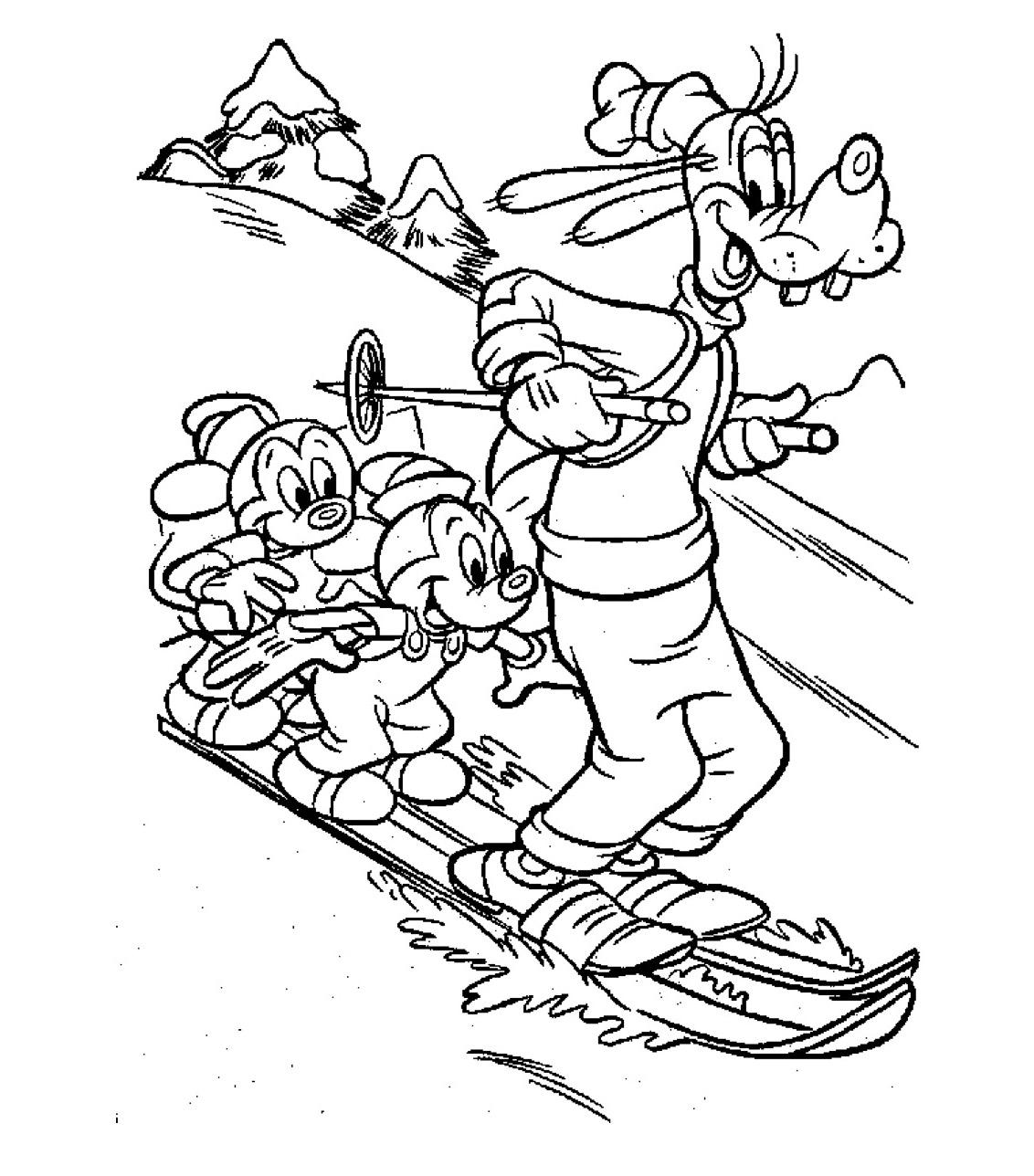 Kleurplaten Wintersport.Kleuren Nu Goofy Puck En Max Op Ski S Kleurplaten
