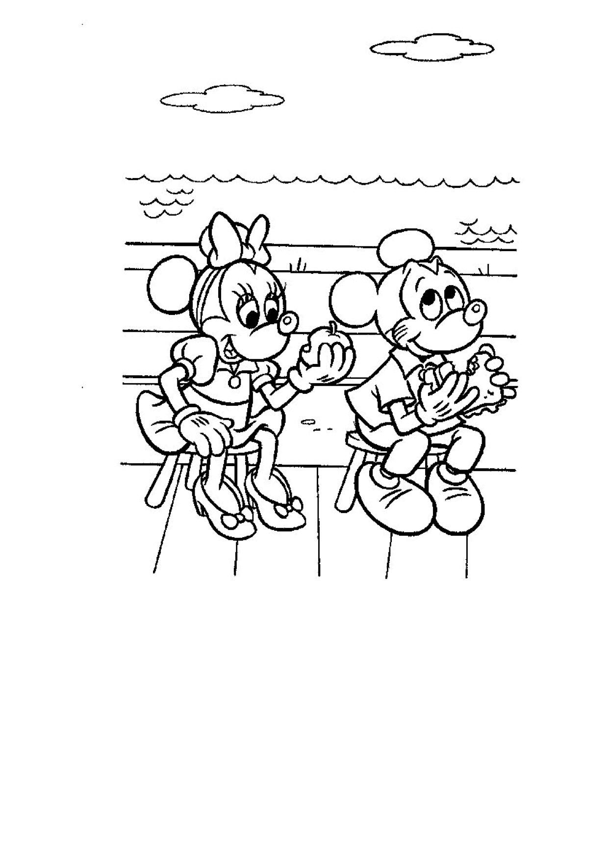Gratis kleurplaat Mickey en Mini op een cruise
