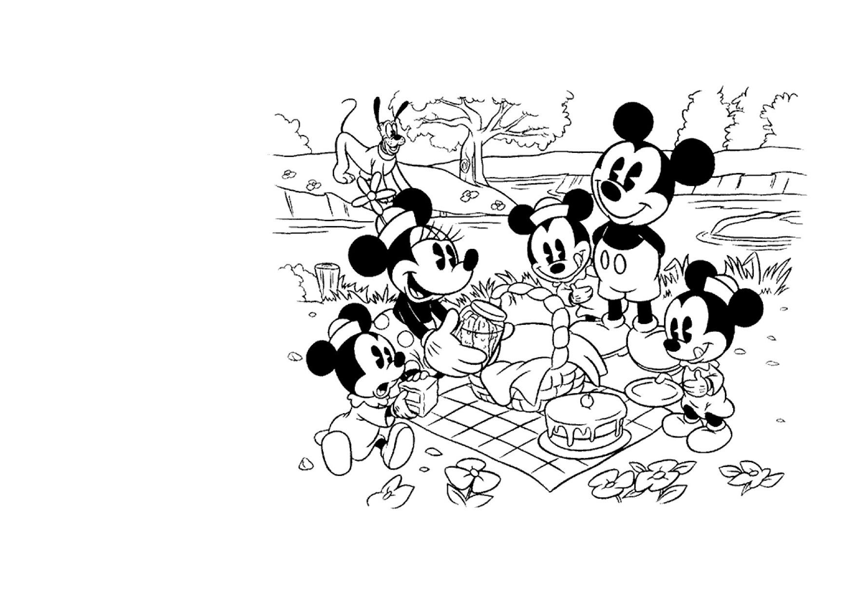Kleuren Nu Mickey En Zijn Vrienden Picknick Kleurplaten