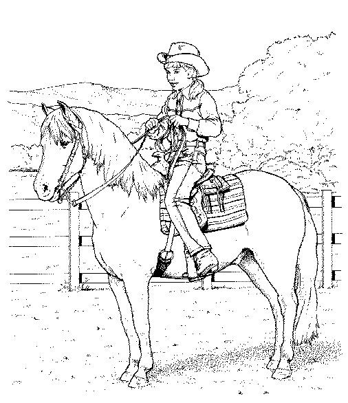 Gratis kleurplaat een cowboy op een paard