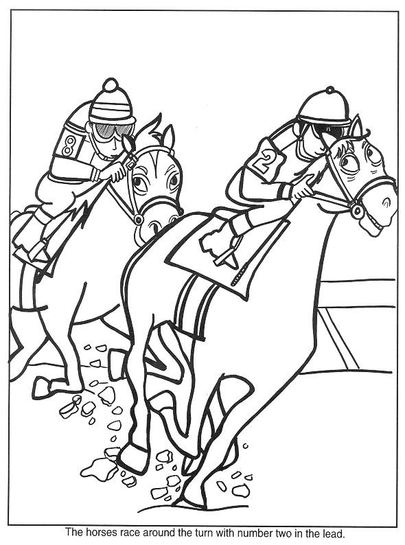 Gratis kleurplaat 2 paarden racen